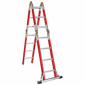 Fiberglass Articulating Ladder, 15 ft. Extended Ladder Height, 300 lb. Load Capacity