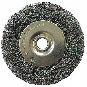 "6"" Crimped Wire Wheel Brush, Arbor Hole Mounting, 0.008"" Wire Dia., 1-5/16"" Bristle Trim Length, 1 E"