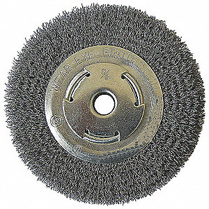 "6"" Crimped Wire Wheel Brush, Arbor Hole Mounting, 0.014"" Wire Dia., 1-5/16"" Bristle Trim Length, 1 E"