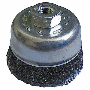 "3"" Crimped Wire Cup Brush, Arbor Hole Mounting, 0.014"" Wire Dia. 1"" Bristle Trim Length"