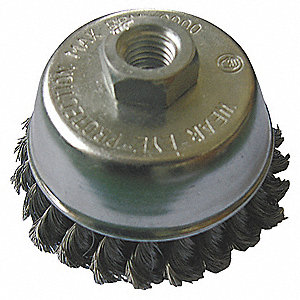 Cup Brush,3-1/2 In D,Steel,0.020 Wire