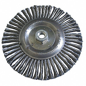 "6"" Twisted Wire Wheel Brush, Arbor Hole Mounting, 0.020"" Wire Dia., 1-1/4"" Bristle Trim Length, 1 EA"