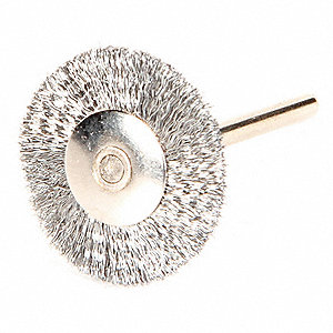 "1"" Crimped Wire Wheel Brush, Shank Mounting, 0.003"" Wire Dia., 5/16"" Bristle Trim Length, 12 PK"