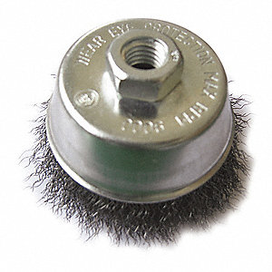 Cup Brush,3 In D,Steel,0.0140 Wire