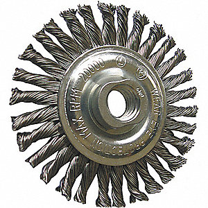 "4"" Twisted Wire Wheel Brush, Arbor Hole Mounting, 0.020"" Wire Dia., 7/8"" Bristle Trim Length, 1 EA"
