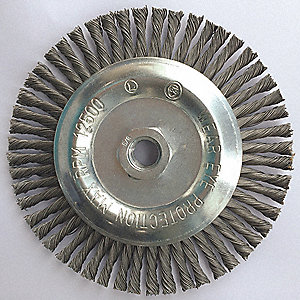 "Arbor Hole Wire Wheel Brush, Twist Wire, 6"" Brush Dia."