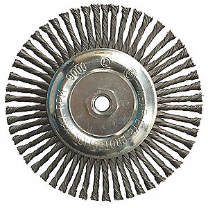 "7"" Twisted Wire Wheel Brush, Arbor Hole Mounting, 0.020"" Wire Dia., 1-1/2"" Bristle Trim Length, 1 EA"