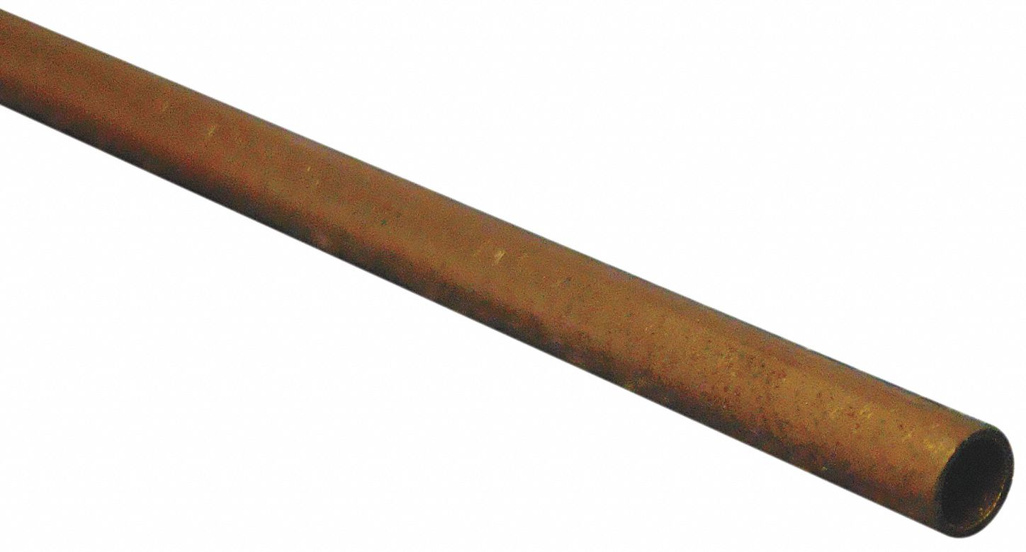Hard Straight Copper Tubing, 1/4 in Outside Dia., 0.222 in Inside Dia.