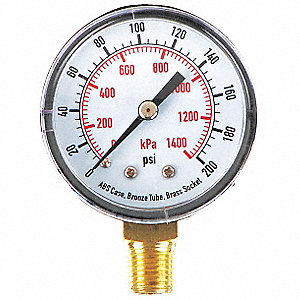 "2"" Test Pressure Gauge, 0 to 200 psi"