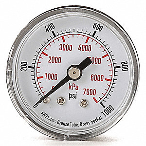 "1-1/2"" Test Pressure Gauge, 0 to 1000 psi"