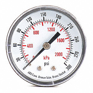 PRESSURE GAUGE,50 MM,300 PSI,BACK