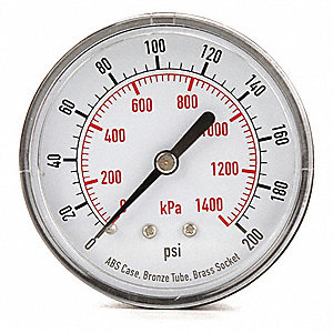 "2-1/2"" Test Pressure Gauge, 0 to 200 psi"