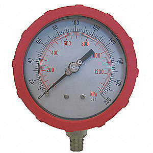 "4"" Test Pressure Gauge, 0 to 200 psi"