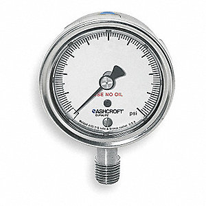 "2-1/2"" Oxygen Service Cleaned Pressure Gauge, 0 to 3000 psi"