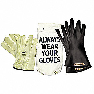 Black Electrical Glove Kit, Natural Rubber, 0 Class, Size 8