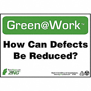 SIGN GREEN AT WORK REDUC DFECT 7X10
