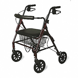 "Bariatric Rollator, Burgundy/Black, 31-1/2 to 37-1/2"" Overall Height"