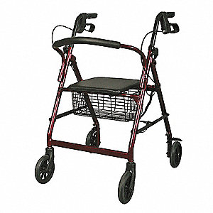 "Adult Rollator, Burgundy/Black, 31 to 35"" Overall Height"