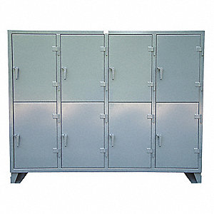 Wrdrb Lockr,Solid,4 Wide, 2 Tier,Gray