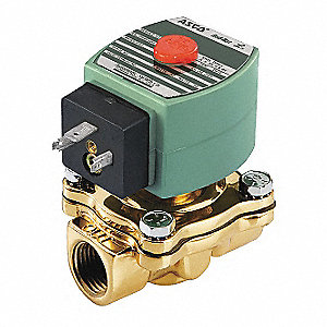 "120VAC Brass Solenoid Valve, Normally Closed, 1/2"" Pipe Size"