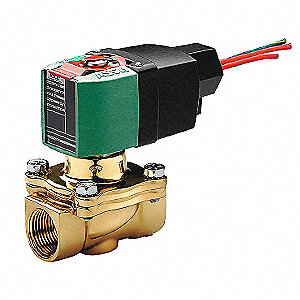 "100 to 240V AC/DC Brass Solenoid Valve, Normally Open, 1/2"" Pipe Size"