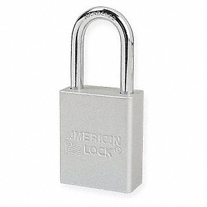 Silver Lockout Padlock, Different Key Type, Master Keyed: No, Anodized Aluminum Body Material
