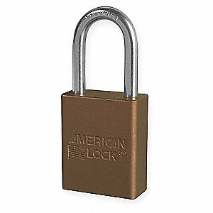 Brown Lockout Padlock, Different Key Type, Aluminum Body Material