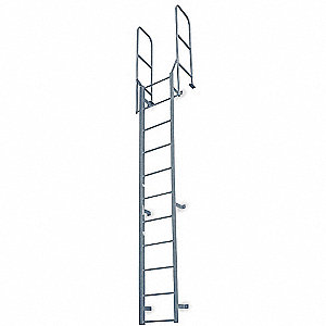 "Fixed Ladder, Steel, 11 ft. 8"" Overall Height, 22"" Overall Width, 300 lb. Load Capacity"