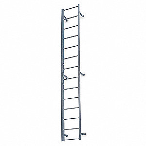 "11 ft. 3"" Overall Height Steel Fixed Ladder, 20"" Overall Width, 300 lb. Load Capacity"