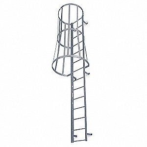 Fantastic 12 Ft 3 Steel Fixed Ladder With Safety Cage Top Exit 300 Lb Load Capacity Pdpeps Interior Chair Design Pdpepsorg