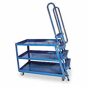 Stock Picking Ladder Cart,3 Shelves