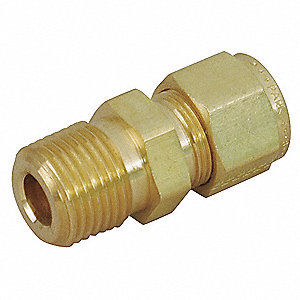 "Male Straight Connector, 1/2"" Tube Size, 3/4"" Pipe Size - Pipe Fitting, Metal, 1-1/16"" Hex Size"