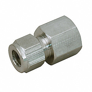 "Female Connector, 1"" Tube Size, 1"" Pipe Size - Pipe Fitting, Metal, 1-5/8"" Hex Size"