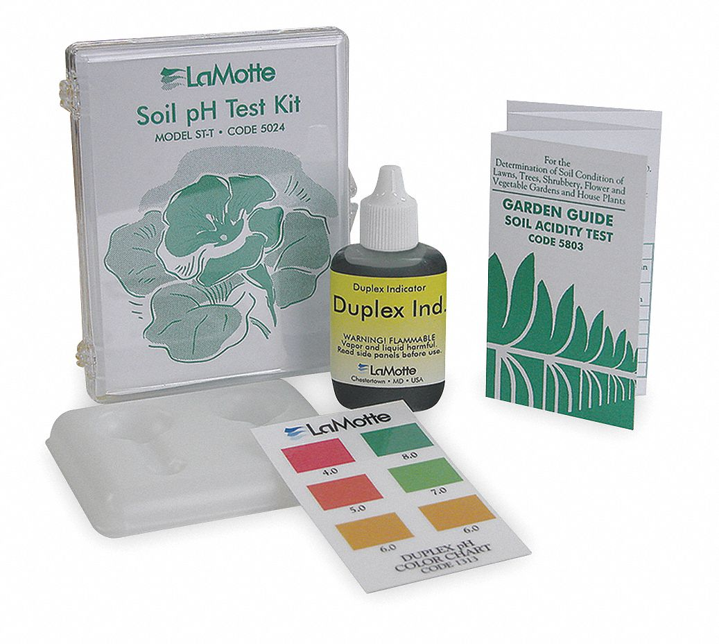 Soil pH Test Kit,  4.0 to 8.0 pH Range,  ±0.5 pH Accuracy,  1 pH Resolution