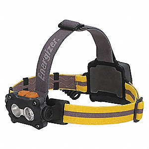 LED Headlamp, Plastic, 50,000 hr. Lamp Life, Maximum Lumens Output: 325, Black