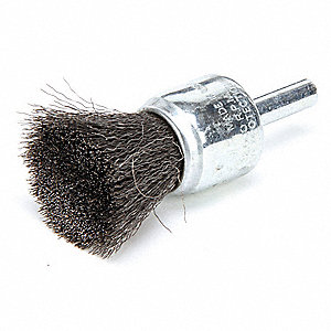 3/4 in Crimped Wire End Brush, 1/4 in Shank, 0.006 in Wire Dia., 7/8 in Bristle Trim Length