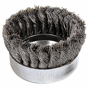"4"" Knotted Wire Cup Brush, Arbor Hole Mounting, 0.014"" Wire Dia. 1-1/4"" Bristle Trim Length"
