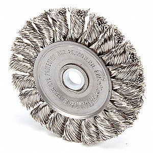 "3"" Twisted Wire Wheel Brush, Arbor Hole Mounting, 0.014"" Wire Dia., 5/8"" Bristle Trim Length, 1 EA"