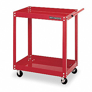 "Red Rolling Cabinet, Utility cart, Width: 27"", Depth: 18"", Height: 32"""
