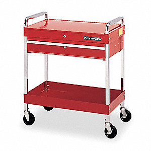 "Red Rolling Cabinet, Utility cart, Width: 30"", Depth: 16"", Height: 35"""