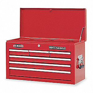 "Red Top Chest, 26"" Width x 12""  Depth x 15-1/2"" Height, Number of Drawers: 6"