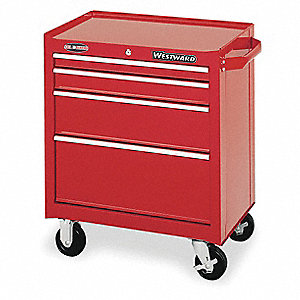 "Red Rolling Cabinet, Standard, Width: 26-1/2"", Depth: 18"", Height: 32"""