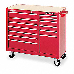"Red Rolling Cabinet, Standard, Width: 41"", Depth: 19"", Height: 37-1/2"""
