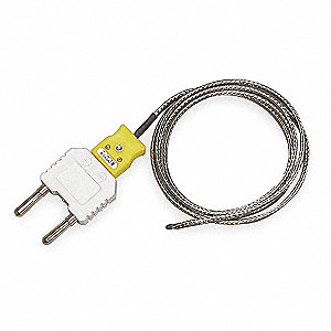 Type K Mini Jack with Dual Banana Plug Adapter K Thermocouple Bead Wire Temperature Probe, -58° to 1