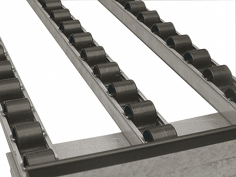 Multi-Rail Flow Rack Conveyor,  Skate Wheel,  3 ft 8 in Overall Length,  10 1/2 in Overall Width