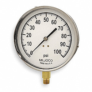 "Pressure Gauge, Mechanical Contractors Gauge Type, 0 to 100 psi Range, 4-1/2"" Dial Size"