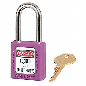 Purple Lockout Padlock, Alike Key Type, Master Keyed: No, Thermoplastic Body Material
