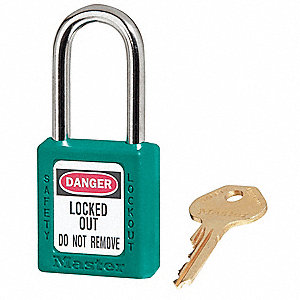 Teal Lockout Padlock, Alike Key Type, Master Keyed: No, Thermoplastic Body Material