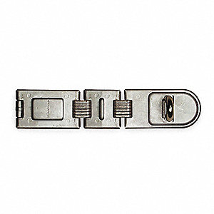 "Double Hinged Safety Fixed Staple Hasp, 7-3/4"" Length, Steel, Bright Zinc Finish"