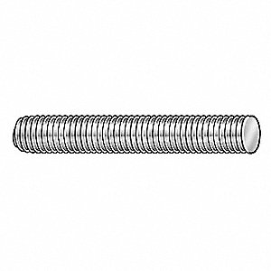 M8-1.25x1m, Threaded Rod, Steel, Low Carbon, Zinc Plated